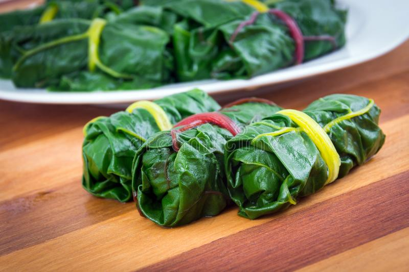 Stuffed swiss chard leaves rolls. Appetizer closeup royalty free stock photos