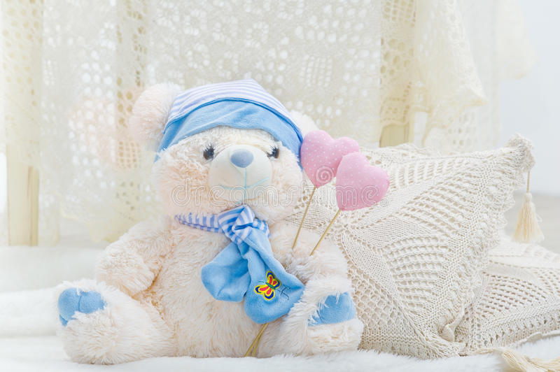 Download Stuffed Teddy Bear Toy With Hearts And Pillows Stock Image - Image: 24883511