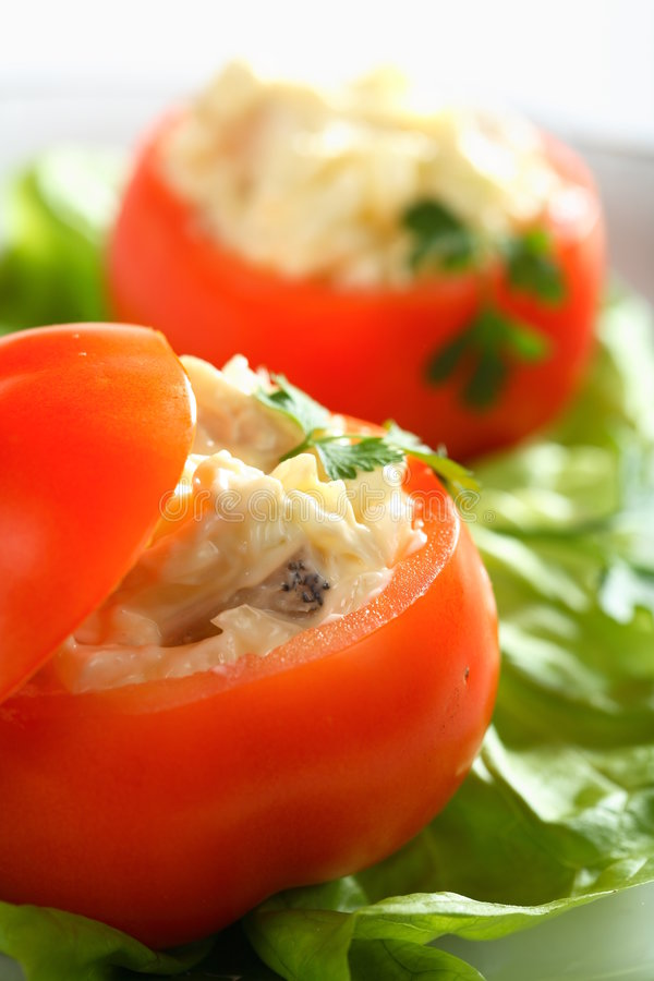 Stuffed tomatoes with carp royalty free stock photo