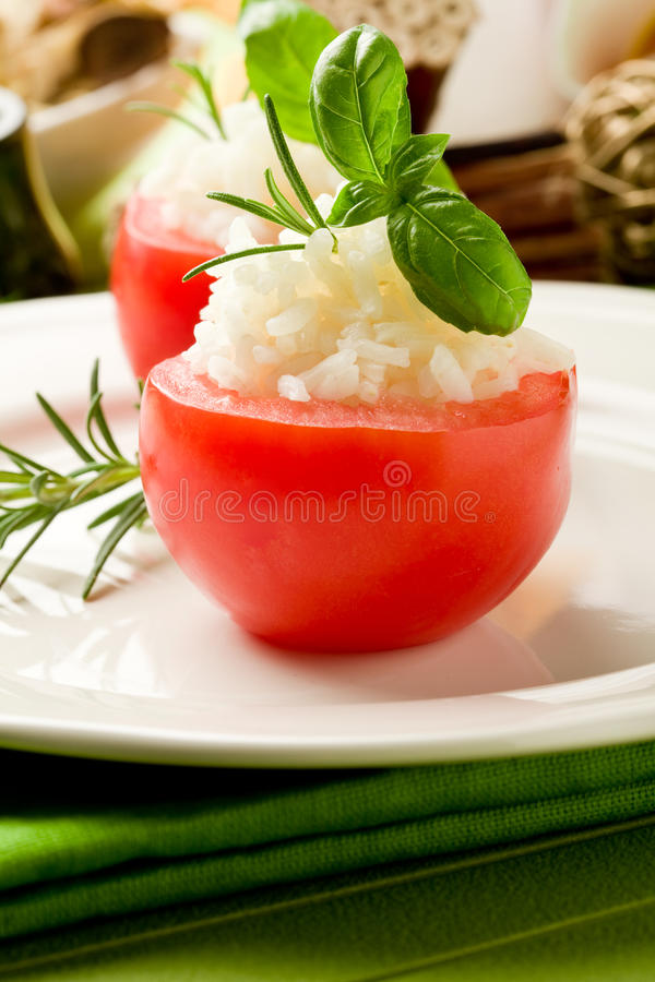 Stuffed Tomatoes with rice royalty free stock images
