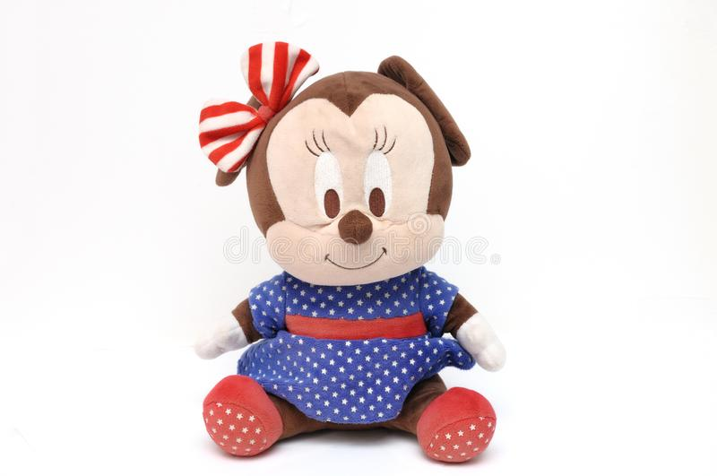 A stuffed toy of the Walt Disney cartoon animation character Minnie Mouse. A photo taken on a stuffed toy of the Walt Disney cartoon animation character Minnie royalty free stock image