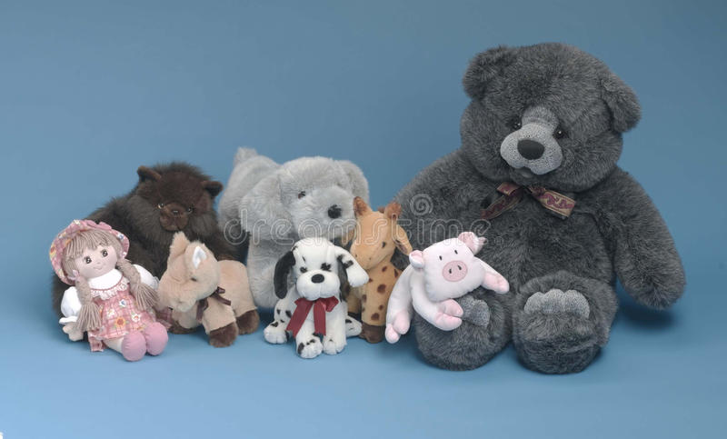 Stuffed toys on blue background stock images