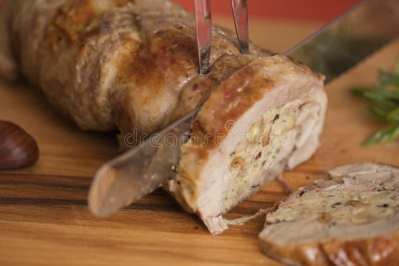 Stuffed turkey breast on cutting board royalty free stock photo