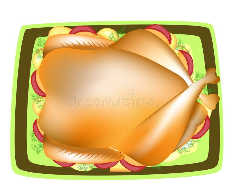 Stuffed turkey. A traditional dish to the festive table. Cranberry sauce, a garnish of apples, potatoes, greens. Prepare for royalty free illustration