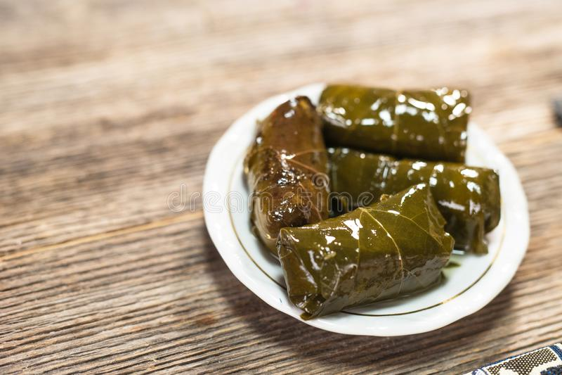 Stuffed vine leaves. With rice stock images