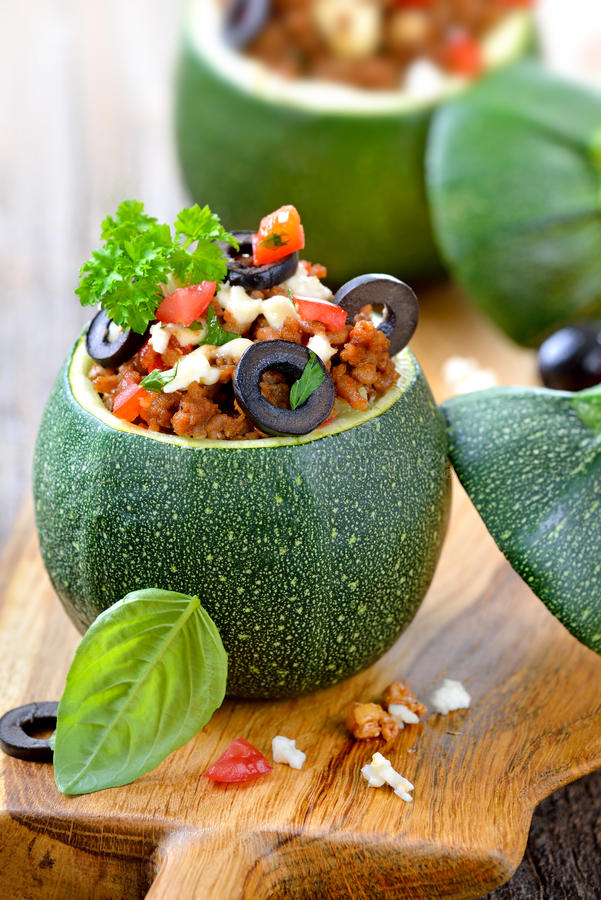 Stuffed Round Courgettes With Grated Cheese Stock Image ...