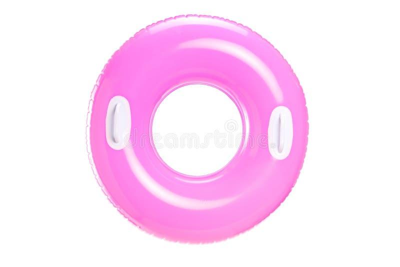 Stufio schoss von einem rosa Schwimmring stockbild