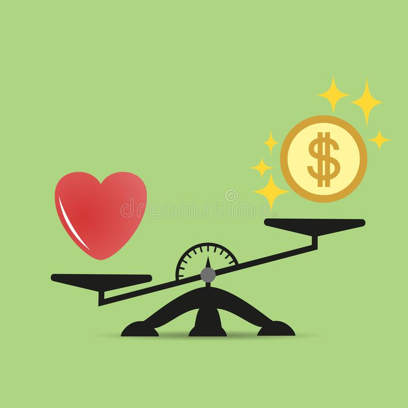 Stuft Vergleich des Geldes und des Herzens ein Eine Balance zwischen Liebe des Herzens und Geld Liebe ist wertvoller als Geld Vek lizenzfreie abbildung