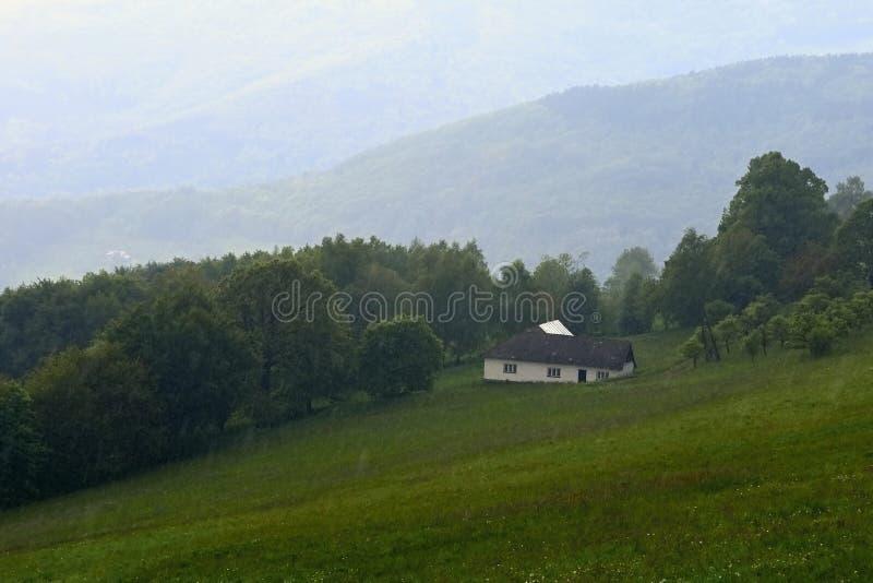 Stuga i regnet Berg i sommaren på en regnig dag Vit Carpathians Tjeckien royaltyfri foto