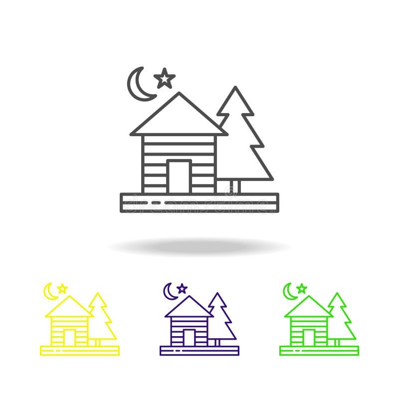 Stuga natt, måne, stjärna, kulör symbol för träd Kan användas för rengöringsduken, logoen, den mobila appen, UI, UX vektor illustrationer