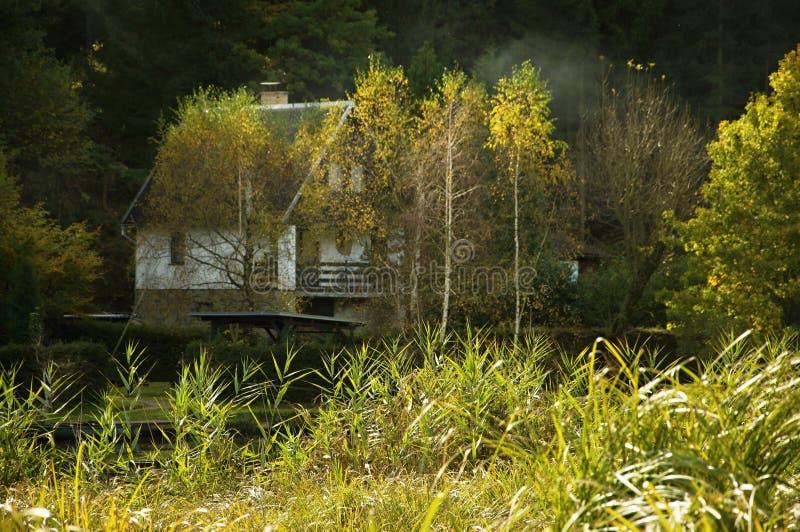 Stuga på flodbanken royaltyfria foton