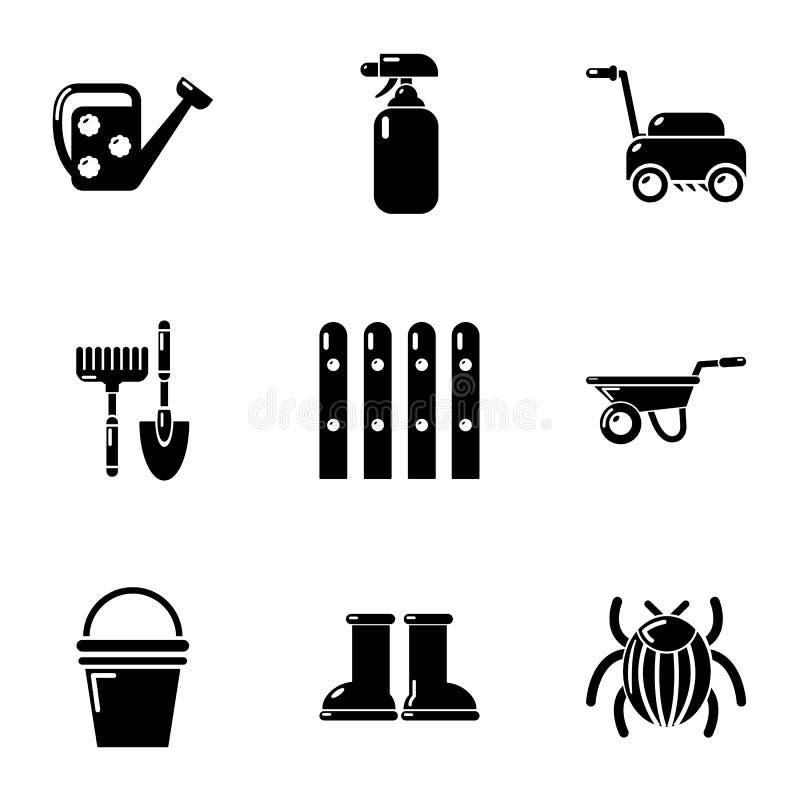 Stugan i landssymbolerna ställde in, enkel stil stock illustrationer