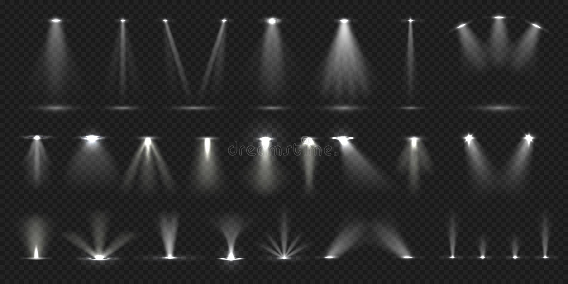 Stuhl auf Stadium Lichteffekt des Showstadiums, beleuchtete Konzertszene für Theatergalerie-Discoclub Vektor realistisch stock abbildung