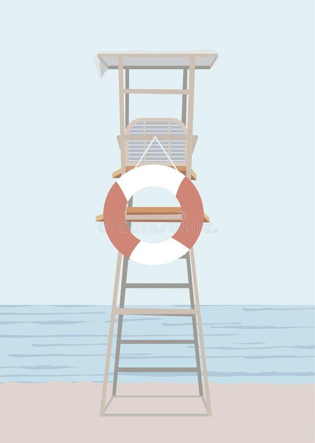 Stuhl der Sicherheit des Strandes Leibwächtersommerarbeit und -lebensretter auf dem Seelandschaftsfeld stock abbildung