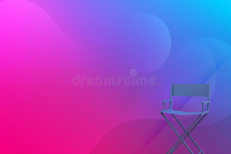 Stuhl der Wiedergabe-3D mit abstraktem buntem Hintergrund stock abbildung