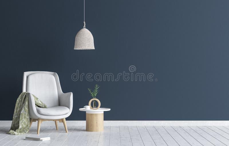 Stuhl mit Lampe und Couchtisch im Wohnzimmer Innen, dunkelblauer Wandspott herauf Hintergrund lizenzfreie abbildung