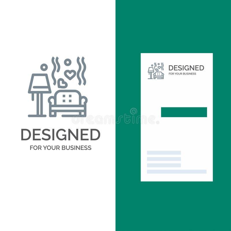 Stuk, Bank, Liefde, Hart, Huwelijk Grey Logo Design en Visitekaartjemalplaatje royalty-vrije illustratie