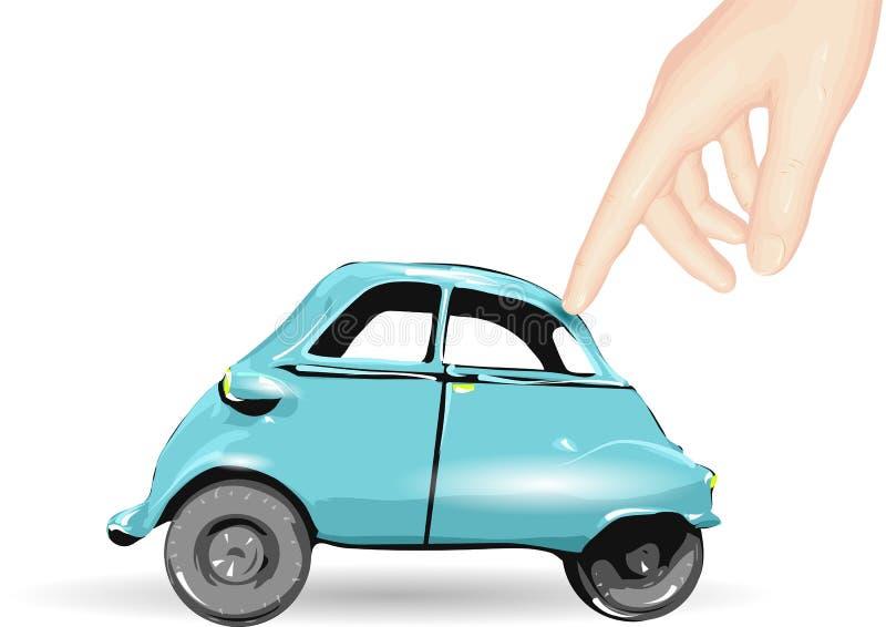 Stuk speelgoed auto en menselijke hand vector illustratie