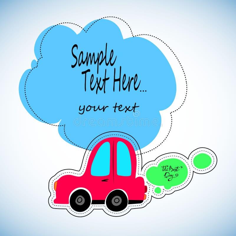 Stuk speelgoed auto's wit overzicht op een blauwe achtergrond Voertuigenreis Sticker voor kinderen op het thema van de machine Ve stock illustratie