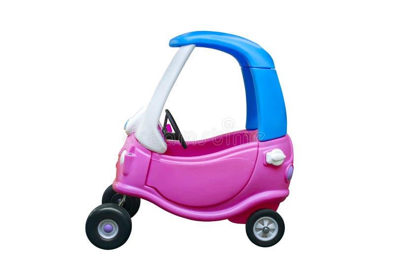 Stuk speelgoed auto voor kinderen op witte achtergrond worden geïsoleerd die Onderwijsspeelgoed voor kleuterschool en kleuterscho royalty-vrije stock afbeelding
