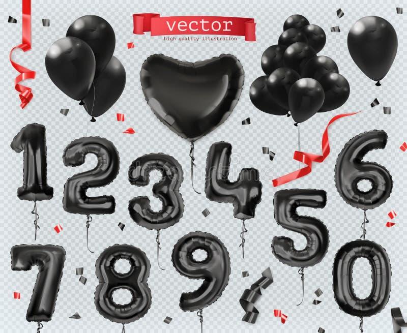 Stuk speelgoed ballons Black Friday, het winkelen Reeks vectorpictogrammen royalty-vrije illustratie