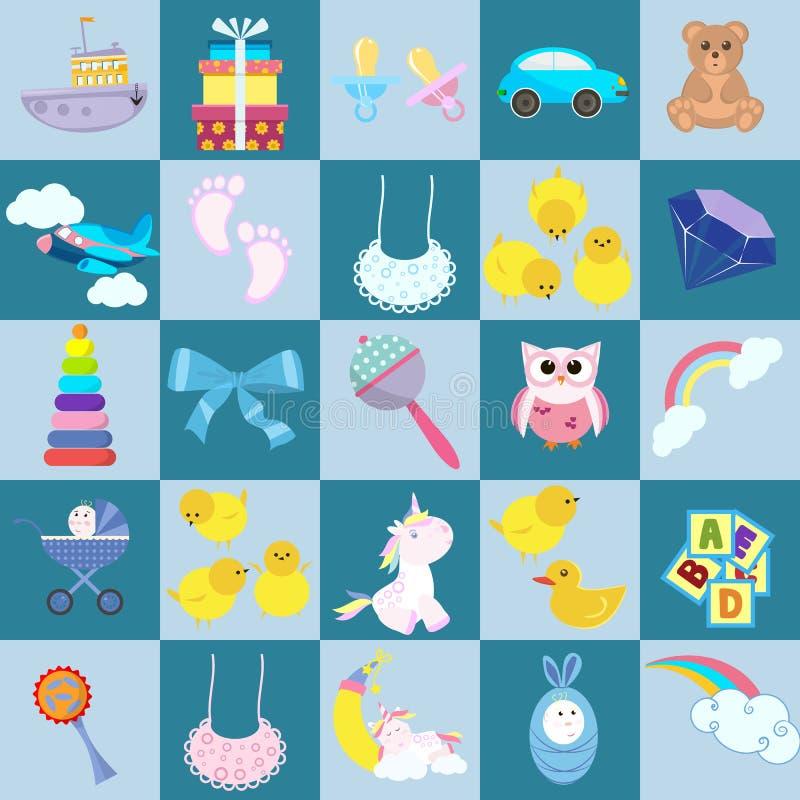 Stuk speelgoed de baby van beeldverhaaljonge geitjes De kinderjaren van het de voetenspel van de kinderen van het kindspel dragen vector illustratie