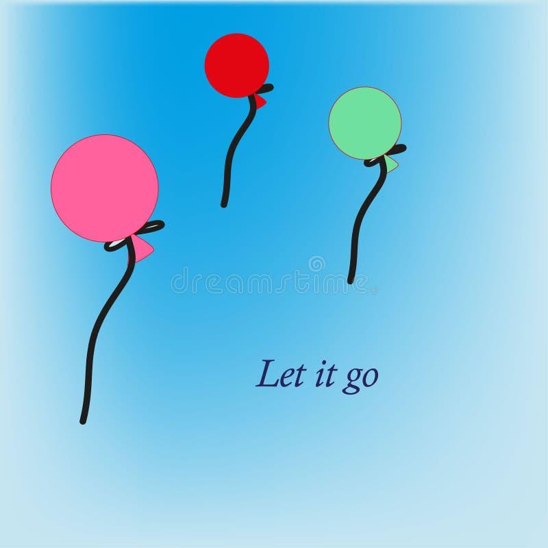 Stuk speelgoed de ballons laten het gaan stock illustratie