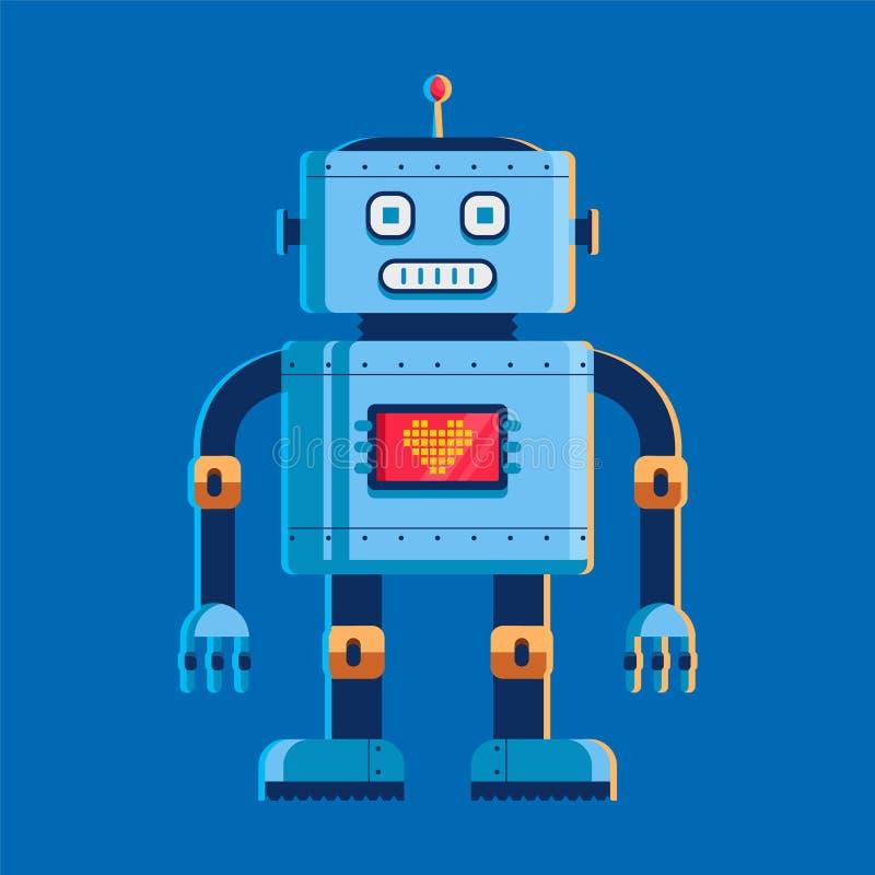 Stuk speelgoed de robot bevindt zich en bekijkt ons op het borstscherm met een hart karakter vectorillustratie op blauwe achtergr stock illustratie