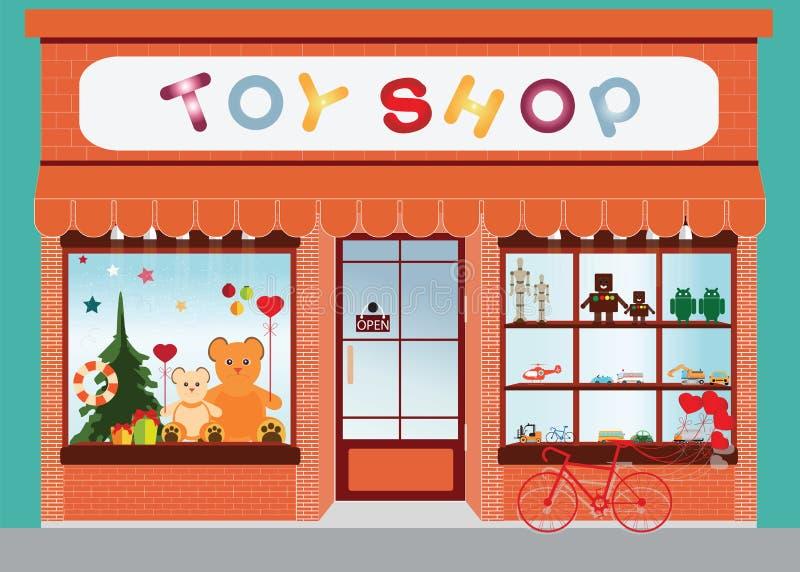 Stuk speelgoed de vertoning van het winkelvenster stock illustratie
