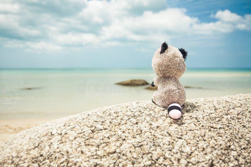 Stuk speelgoed die de afstand op tropisch strand onderzoeken tijdens reis stock foto