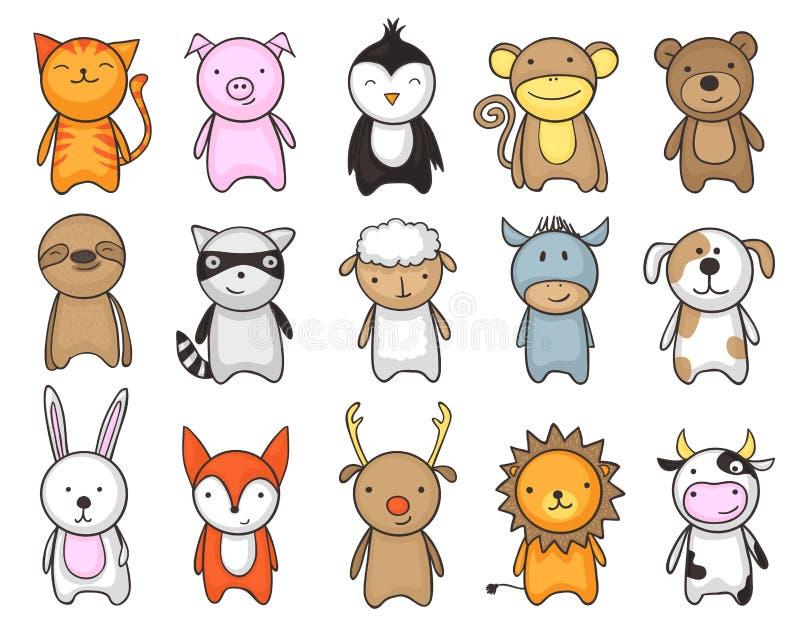 Stuk speelgoed dierenbeeldverhaal voor kinderen wordt geplaatst dat vector illustratie