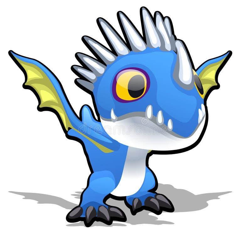 Stuk speelgoed draak in blauwe die kleur op witte achtergrond wordt geïsoleerd De vectorillustratie van het beeldverhaalclose-up vector illustratie