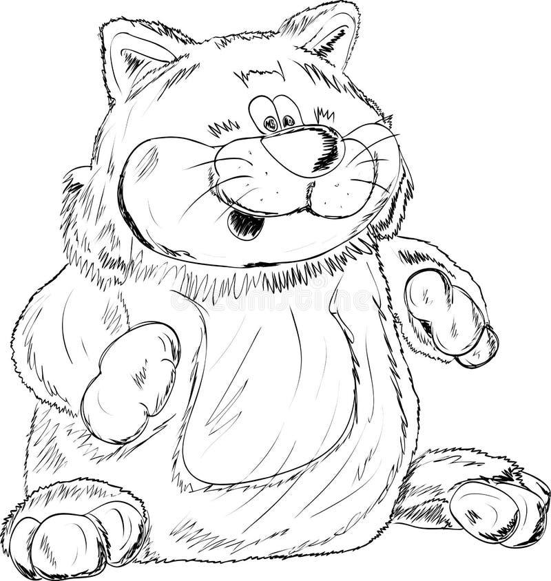 Stuk speelgoed - een kat op een witte achtergrond stock illustratie