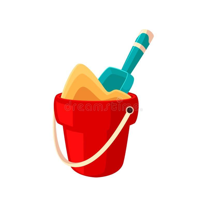 Stuk speelgoed emmerhoogtepunt van zand en schop, spade royalty-vrije illustratie