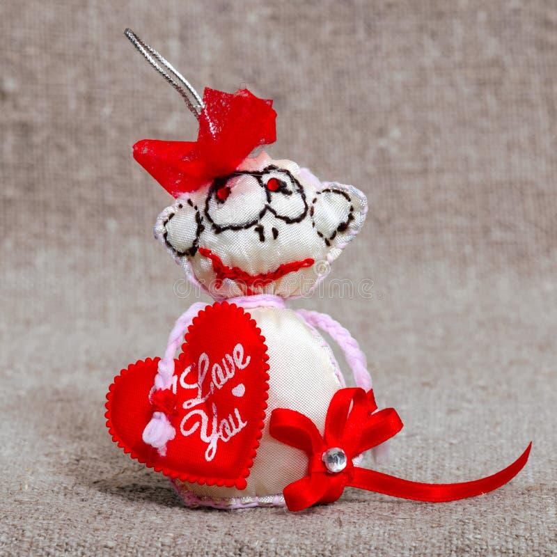 Stuk speelgoed gelukwensen op de Dag van Valentine ` s royalty-vrije stock afbeeldingen