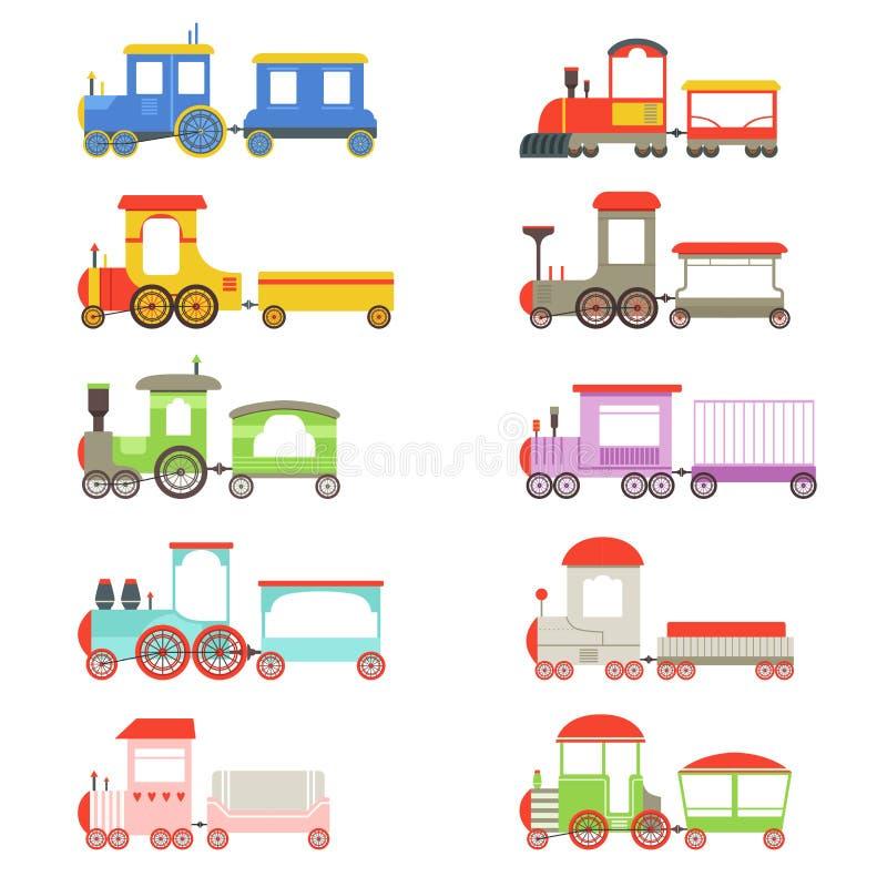Stuk speelgoed geplaatste locomotieven en wagens, kleurrijke treinen vectorillustraties vector illustratie