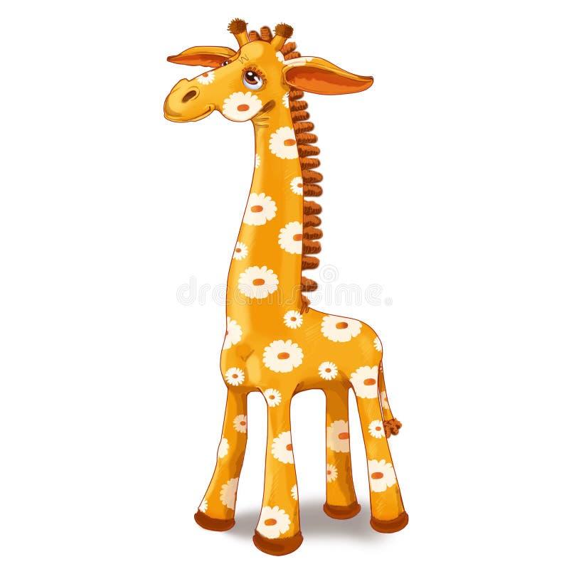 Stuk speelgoed giraf met vlekken in de bloem stock illustratie