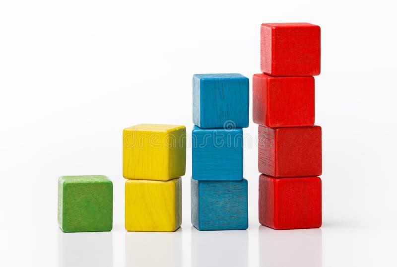 Stuk speelgoed houten blokken als stijgende grafiekbar stock afbeeldingen