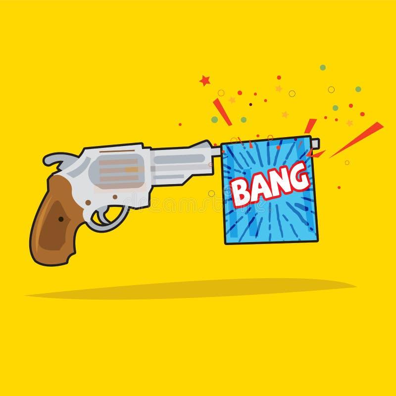 Stuk speelgoed kanon met klapvlag Het concept van de verrassing stock illustratie
