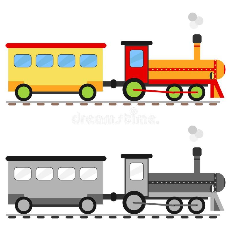 Stuk speelgoed locomotief met een auto stock illustratie