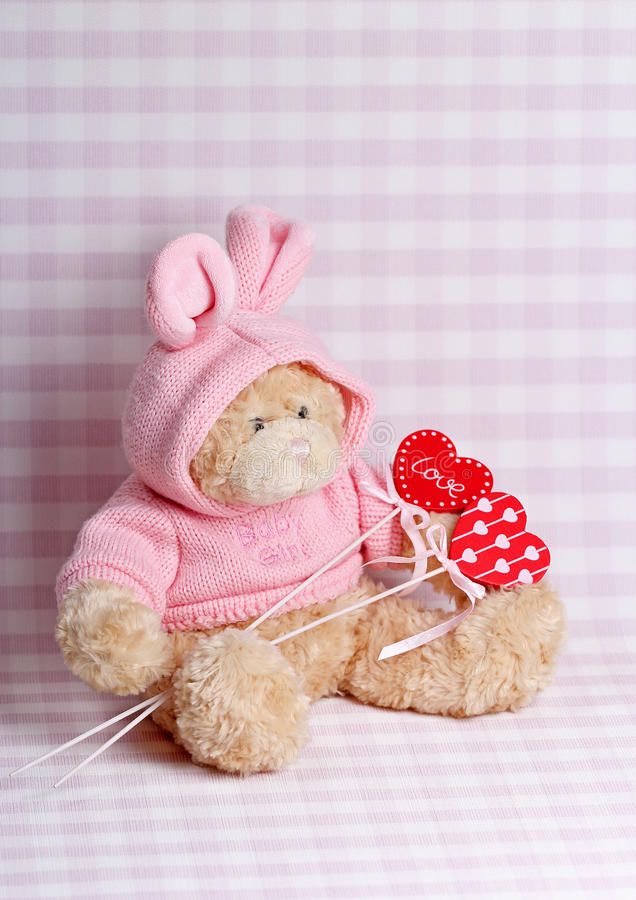 Stuk speelgoed met harten stock afbeelding