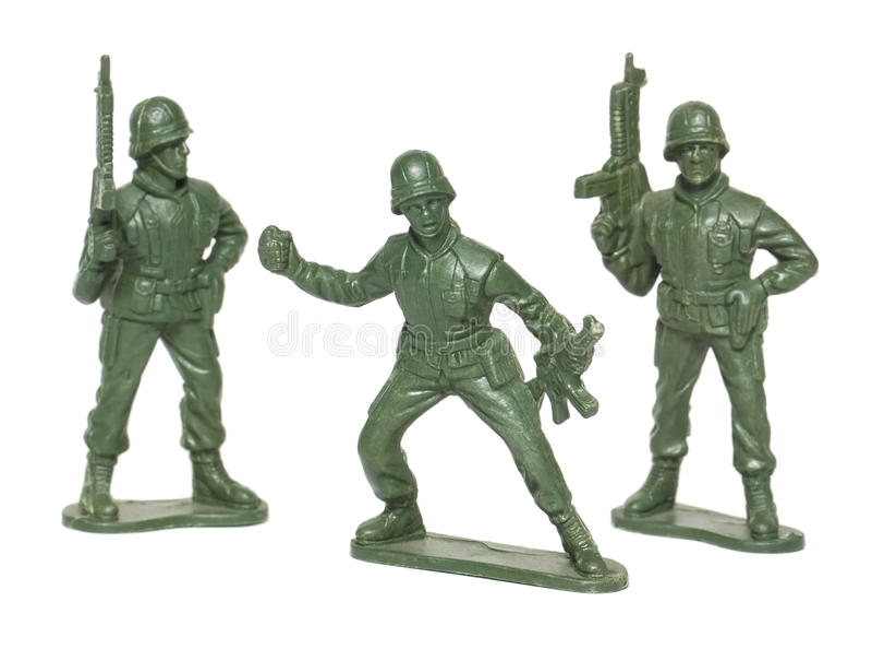 Stuk speelgoed militairen stock afbeelding