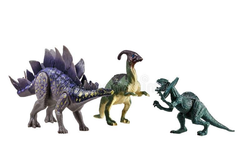 Stuk speelgoed modellen van dinosaurussen stock afbeelding