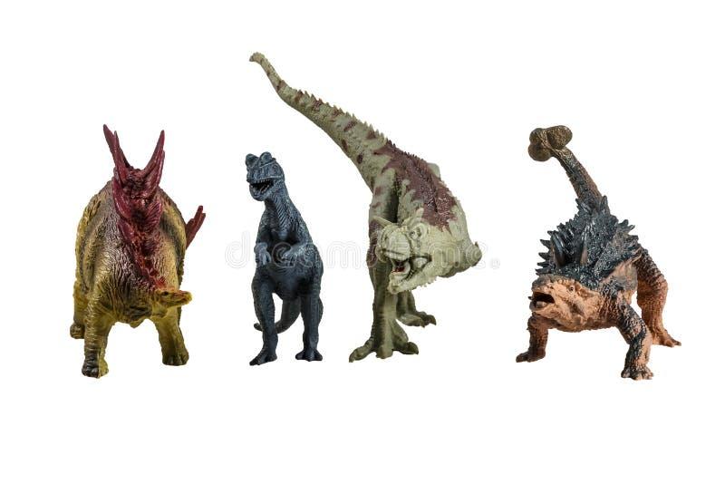 Stuk speelgoed modellen van dinosaurussen royalty-vrije stock foto's
