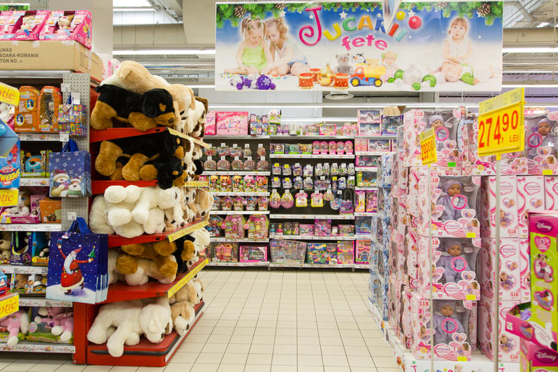 Stuk speelgoed opslag royalty-vrije stock fotografie