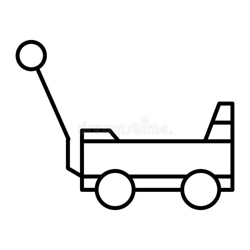 Stuk speelgoed pictogram van de kar het dunne lijn De vectordieillustratie van het handkarretje op wit wordt geïsoleerd De stijlo royalty-vrije illustratie