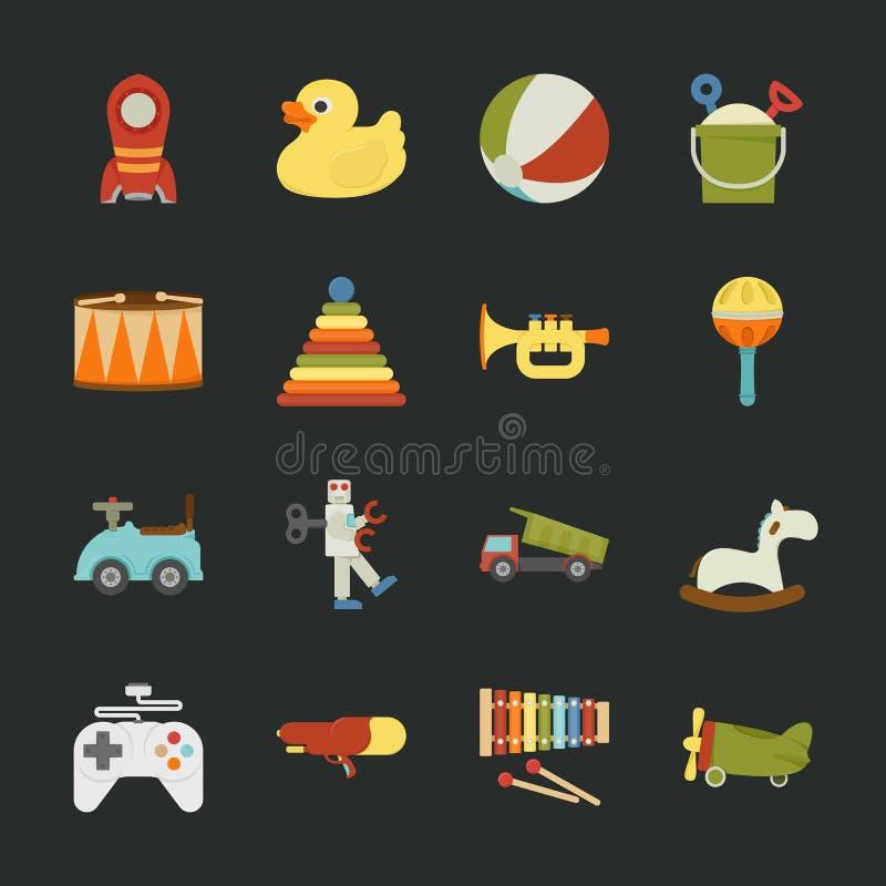 Stuk speelgoed pictogrammen, vlak ontwerp stock illustratie