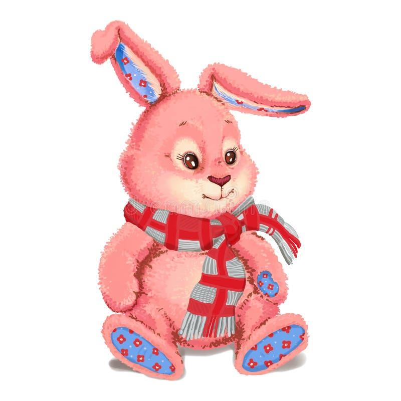 Stuk speelgoed pluche roze konijntje royalty-vrije illustratie