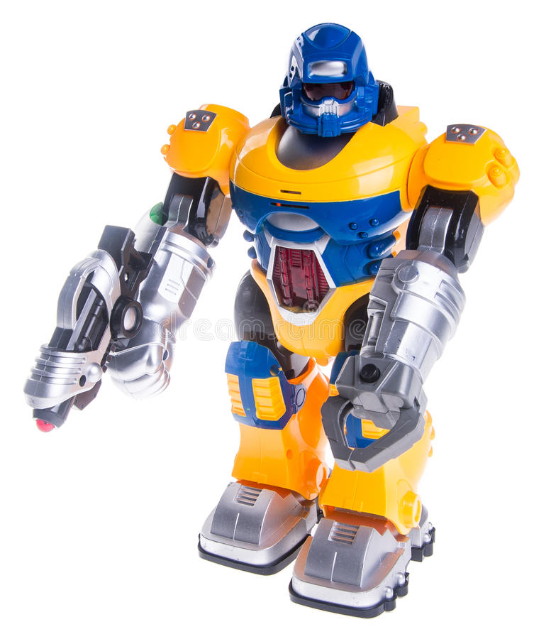 Stuk speelgoed robot op een achtergrond royalty-vrije stock fotografie