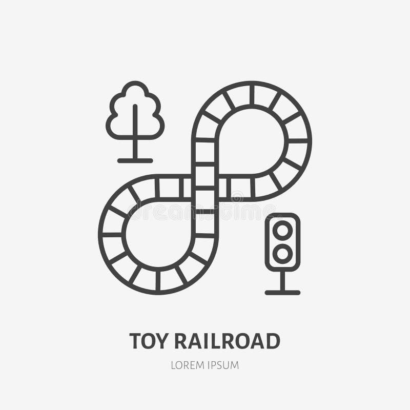 Stuk speelgoed spoorlijnpictogram, spoorweg vlak embleem Het ontwikkelen van spel vectorillustratie Teken voor jonge geitjeswinke stock illustratie